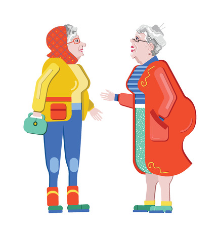 Foto de Friendship of old people. Old Girlfriends. Older woman talking on the street. Old women discuss retirement. Senior having fun. - Imagen libre de derechos