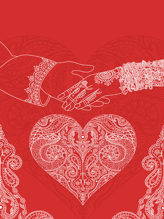 Photo pour Wedding indian invitation card. India marriage template.Beautifully decorated Indian bride hand.Close-up of groom holding brides hand.Indian bride with mehandi in hand in vector. lineart - image libre de droit
