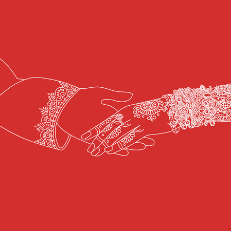 Photo pour Wedding indian invitation card ceremony white lines .India marriage template.Beautifully decorated Indian bride hand.Close-up of groom holding brides hand.Indian bride with mehandi in hand in vector - image libre de droit