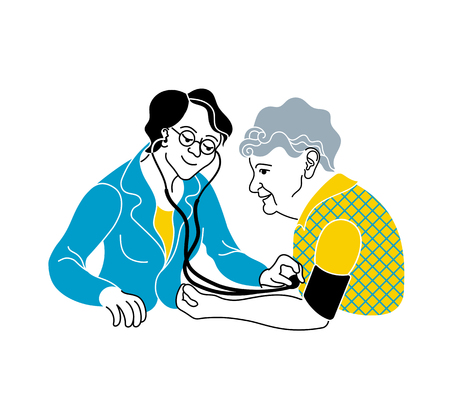 Illustration pour Caring for the elderly.Consultation medical diagnosis.A nurse taking care of a sick elderly woman.Doctor measures the blood pressure patient.Medical treatment and healthcare poster.Caregiver elderly - image libre de droit