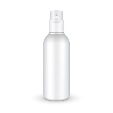 Illustration pour Spray Cosmetic Parfume, Deodorant, Freshener Or Medical Antiseptic Drugs Plastic Bottle White. Ready For Your Design. Product Packing Vector EPS10 - image libre de droit
