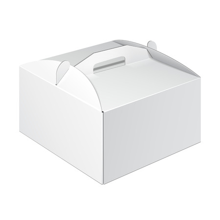 Illustration pour White Short Square Cardboard Cake Carry Box Packaging For Food, Gift Or Other Products. On White Background Isolated. Ready For Your Design. Product Packing Vector EPS10 - image libre de droit