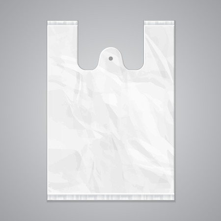 Illustration pour Disposable Plastic Bag Package Grayscale Template. Ready For Your Design. Product Packing Vector EPS10 - image libre de droit