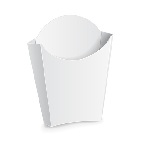 Illustration for Mock Up French Fries White Paper Box. On White Background Isolated. Ready For Your Design. Product Packing Vector EPS10 - Royalty Free Image