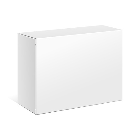Ilustración de White Product Cardboard Package Box. Illustration Isolated On White Background. Mock Up Template Ready For Your Design. Vector EPS10 - Imagen libre de derechos