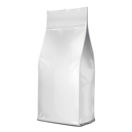 Illustration pour Foil Paper Food Bag Package Of Coffee, Salt, Sugar, Pepper, Spices Or Flour, Folded, Grayscale. On White Background Isolated. Mock Up Template Ready For Your Design. Product Packing Vector - image libre de droit