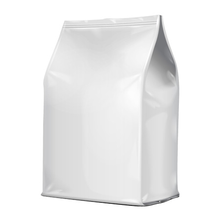 Illustration for White Blank Foil Food Or Drink Doypack Bag Packaging. Illustration Isolated On White Background. Mock Up Template Ready For Your Design. Vector - Royalty Free Image