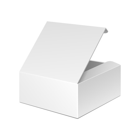 Illustration pour Opened White Cardboard Package Box. Gift Candy. On White Background Isolated. Mock Up Template Ready For Your Design. Product Packing Vector EPS10 - image libre de droit