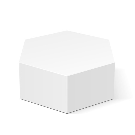 Illustration pour White Cardboard Hexagon Box Packaging For Food, Gift Or Other Products. Illustration Isolated On White Background. Mock Up Template Ready For Your Design. Product Packing Vector EPS10 - image libre de droit