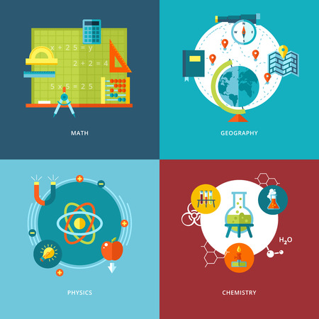 Illustration for Set of flat design concepts of school subjects icons for mobile apps and web design  Icons for math, geography, physics and chemistry  - Royalty Free Image