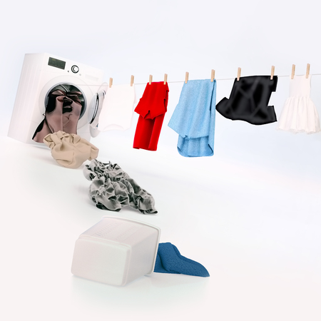 Foto de Cloth hanging on a rope coming out of the washing machine, dirty cloth jump into the washing machine. Square. - Imagen libre de derechos