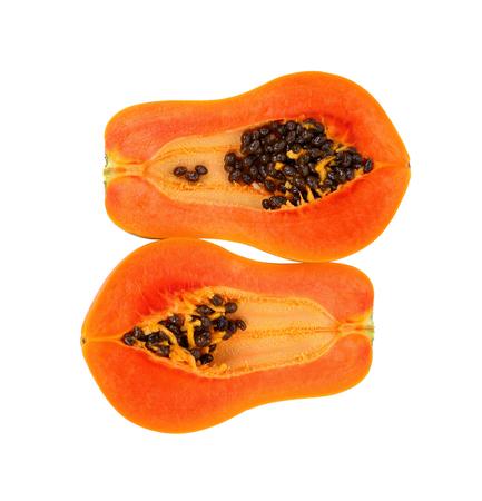 Photo for slices of sweet papaya isolate on white background - Royalty Free Image