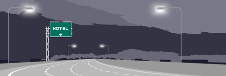 Ilustración de Highway or motorway and green signage with Hotel sign at nighttime illustration isolated on dark sky background - Imagen libre de derechos
