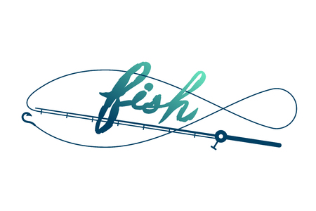 Ilustración de Fish shape made from Fishing rod frame, logo icon set design green and dark blue gradient color illustration isolated on white background with Fish text brush style and copy space - Imagen libre de derechos