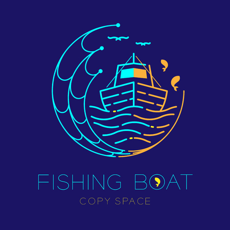 Illustration pour Fishing boat, fish, seagull, wave and Fishing net circle shape logo icon outline stroke set dash line design illustration isolated on dark blue background and copy space - image libre de droit