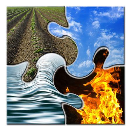 Photo pour Four elements in a twisted puzzle - image libre de droit