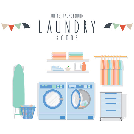 Photo for Laundry, Vector illustration of laundry (White Background). - Royalty Free Image