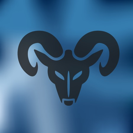 head of the ram icon on blurred background