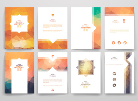 Ilustración de Set of brochures in poligonal style on Autumn theme. Beautiful frames and backgrounds. - Imagen libre de derechos