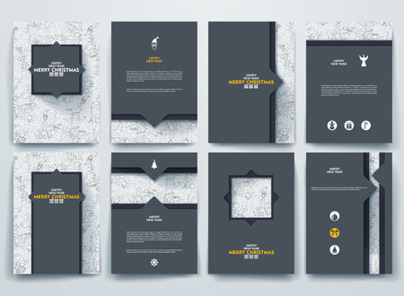 Illustration pour Vector design brochures with doodles backgrounds on Merry Christmas and Happy New Year theme. - image libre de droit