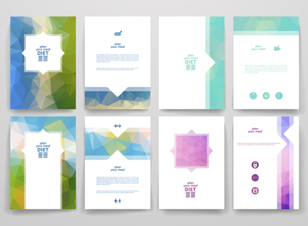 Ilustración de Set of brochures in poligonal style on diet theme. Beautiful frames and backgrounds. - Imagen libre de derechos