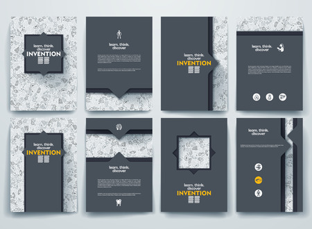 Ilustración de Vector design brochures with doodles backgrounds on invention theme - Imagen libre de derechos