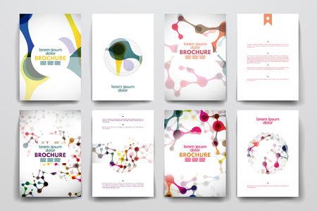 Ilustración de Set of brochure, poster templates in DNA molecule style. Beautiful design and layout - Imagen libre de derechos
