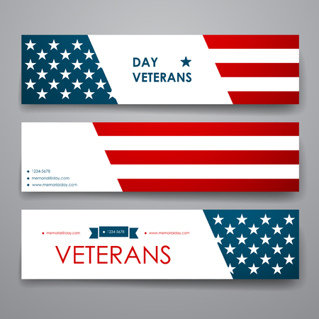 Illustration pour Set of modern design banner template in veterans day style design and layout - image libre de droit