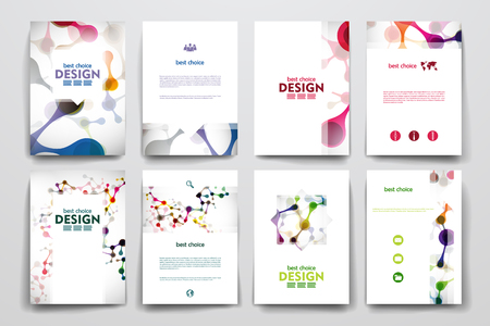 Illustration pour Set of brochure, poster templates in DNA molecule style. Beautiful design - image libre de droit