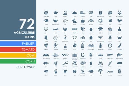Illustration pour agriculture vector set of modern simple icons - image libre de droit