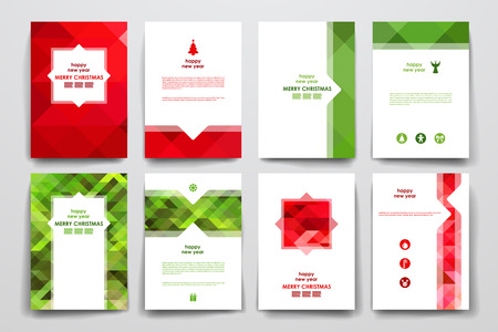 Illustration pour Set of brochure, poster templates in Christmas style. Beautiful design and layout - image libre de droit
