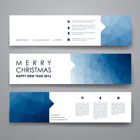 Ilustración de Set of modern design banner template in Christmas style. Beautiful design and layout - Imagen libre de derechos