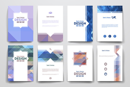 Ilustración de Set of brochure, poster templates in abstract style. Beautiful design and layout - Imagen libre de derechos
