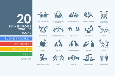 Ilustración de business people conflict vector set of modern simple icons - Imagen libre de derechos