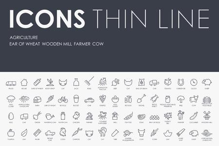 Illustration pour Thin Stroke Line Icons of agriculture on White Background - image libre de droit