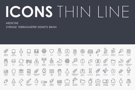 Illustration pour Thin Stroke Line Icons of medicine on White Background - image libre de droit