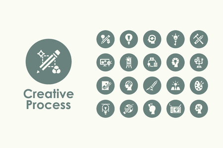 Ilustración de It is a set of creative process simple web icons - Imagen libre de derechos