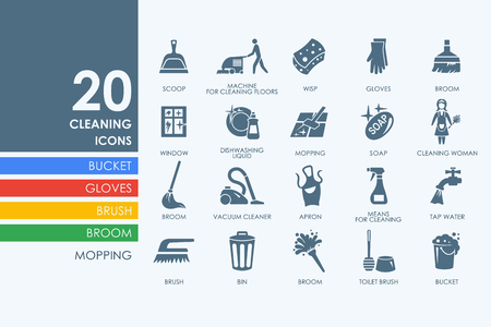Illustration for cleaning vector set of modern simple icons - Royalty Free Image