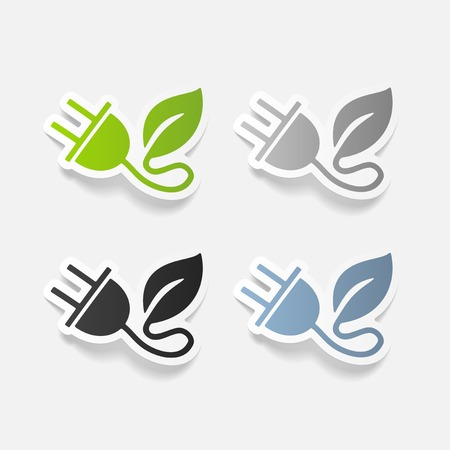 Illustration pour realistic design element: eco plug leaf - image libre de droit