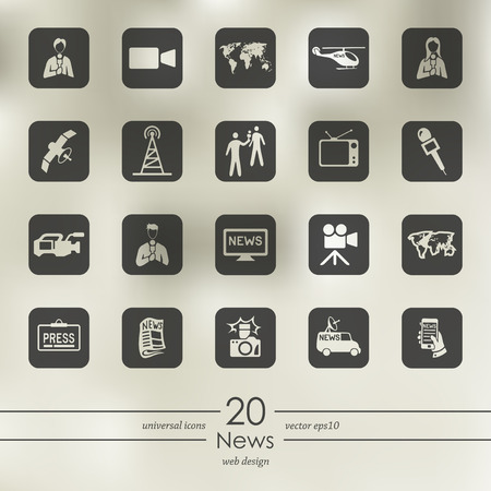 Illustration pour News modern icons for mobile interface on blurred background - image libre de droit