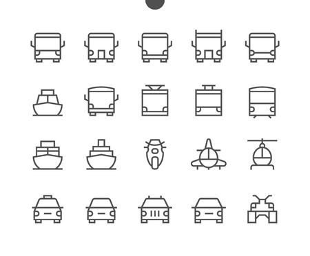 Photo pour Transport Front View Outlined Pixel Perfect Well-crafted Vector Thin Line Icons 48x48 Ready for 24x24 Grid for Web Graphics and Apps with Editable Stroke. Simple Minimal Pictogram - image libre de droit