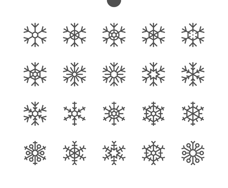 Illustration for Snowflakes UI Pixel Perfect Well-crafted Vector Thin Line Icons 48x48 Ready for 24x24 Grid for Web Graphics and Apps with Editable Stroke. Simple Minimal Pictogram - Royalty Free Image