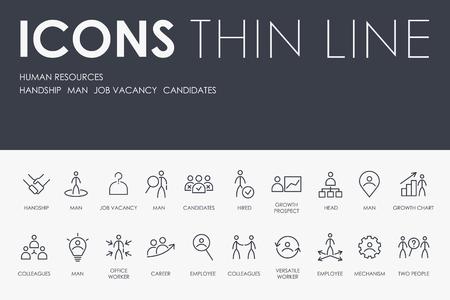 Illustration pour HUMAN RESOURCES Thin Line Icons - image libre de droit