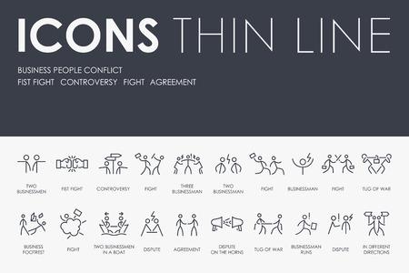 Illustration pour BUSINESS PEOPLE CONFLICT Thin Line Icons - image libre de droit