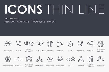 Illustration pour Set of PARTNERSHIP Thin Line Vector Icons and Pictograms - image libre de droit