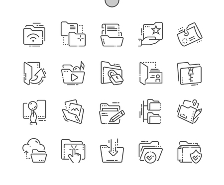 Illustration pour Folders Well-crafted Pixel Perfect Vector Thin Line Icons 30 2x Grid for Web Graphics and Apps. Simple Minimal Pictogram - image libre de droit