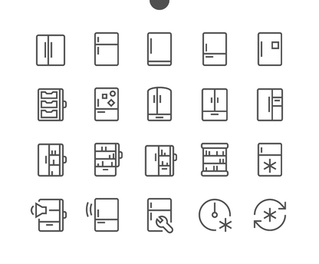 Illustration pour Fridge UI Pixel Perfect Well-crafted Vector Thin Line Icons Grid Ready for Web Graphics and Apps with Editable Stroke. Simple Minimal Pictogram - image libre de droit