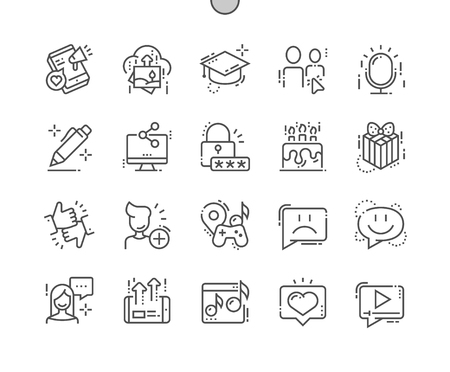 Illustration pour Social Icons Well-crafted Pixel Perfect Vector Thin Line Icons Grid for Web Graphics and Apps. Simple Minimal Pictogram - image libre de droit