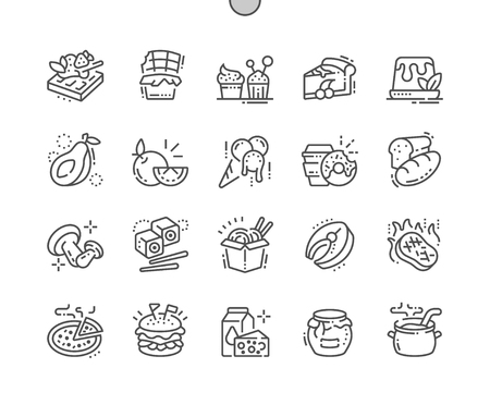 Illustration pour Food Well-crafted Pixel Perfect Vector Thin Line Icons 30 2x Grid for Web Graphics and Apps. Simple Minimal Pictogram - image libre de droit