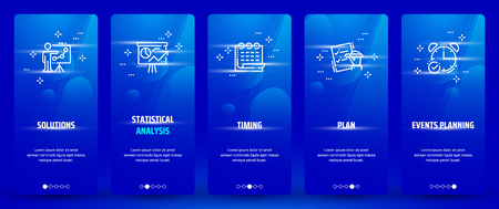 Illustration for Solutions, Statistical analysis, Plan, Events planning, Timing Vertical Cards with strong metaphors. - Royalty Free Image